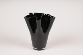 A094W3 Black glass vase black D19cm H22cm