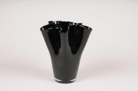 A094W3 Vase en verre noir D19cm H22cm