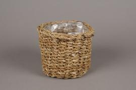 A095T3 Set 2 cache-pots en fibres naturelles tressées D17cm H14cm