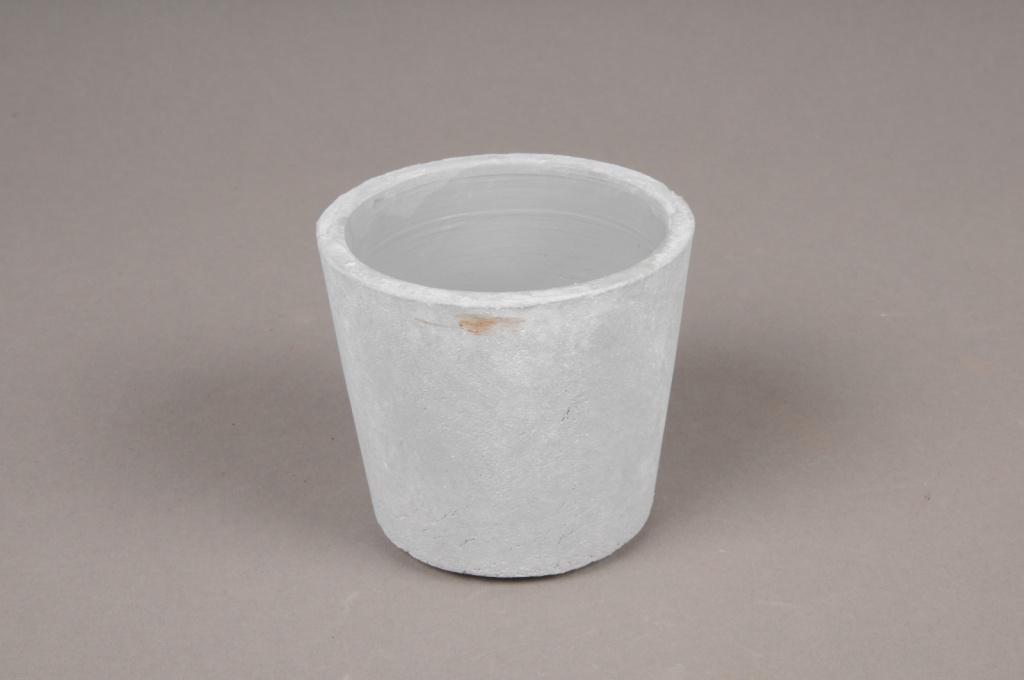 A095TN Cache-pot en céramique gris D8.5cm H7.5cm