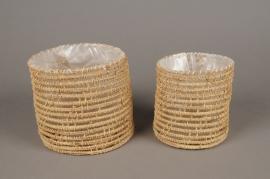 A096T3 Set 2 natural weaved planter D15cm H14cm