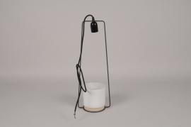 A097T3 Suspension lampe et cache-pot céramique blanc D19cm H52cm