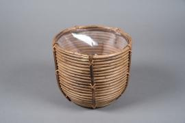 A098DQ Cache-pots en rotin D23cm H20cm