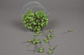 A098MG Boîte de 250 perles sur épingle vert pomme 10x60mm