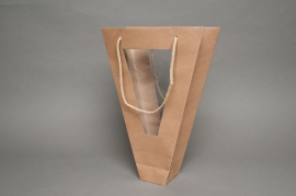 A098MO Pack of 10 natural conical bags 24x7cm