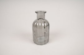 A098R4 Grey glass bottle vase D7.5cm H14cm