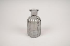 A098R4 Vase bouteille en verre gris D7.5cm H14cm