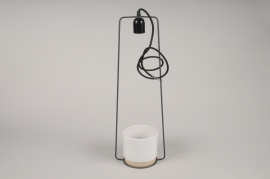 A098T3 White ceramic planter and light hanging D19cm H65cm