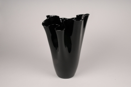 A098W3 Glass vase black D28cm H41.5cm