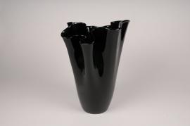 A098W3 Vase en verre noir D28cm H41.5cm