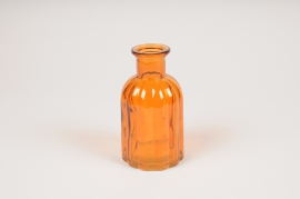 A099R4 Amber glass bottle vase D7.5cm H14cm