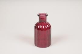 A100R4 Vase bouteille en verre violet D7.5cm H14cm