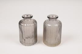 A101R4 Vase bouteille en verre assortis D6cm H10cm