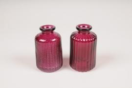A102R4 Vase bouteille en verre assortis D6cm H10cm