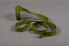 A103UN Green cotton ribbon 38mm x 10m