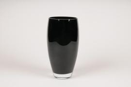 A103W3 Black glass vase D12cm H26cm