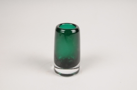 A104W3 Green tapered glass vase D5.5cm H10cm