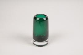 A104W3 Vase en verre resserré vert D5.5cm H10cm