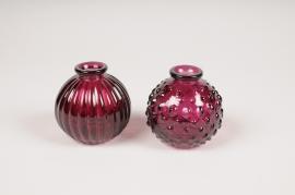 A105R4 Vase en verre boule violet D8.5cm H8.5cm
