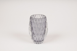 A106R4 Grey glass candle jar D8cm H13cm