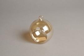 A107PM Boîte de 6 boules ouvertes ambre à suspendre D8cm
