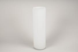 A107PS Vase en verre cylindre blanc D15cm H50cm