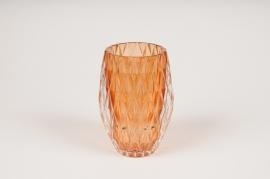A107R4 Photophore en verre ambre D8cm H13cm