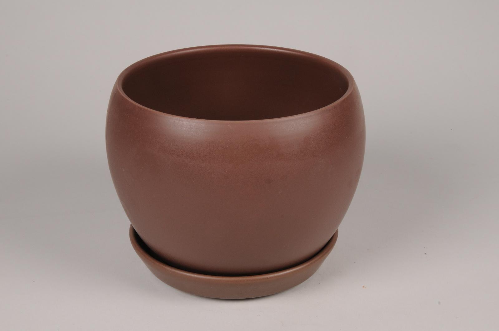 A108HX Cache-pot en céramique brun D20cm H16cm