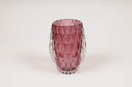 A108R4 Dark red glass candle jar D8cm H13cm
