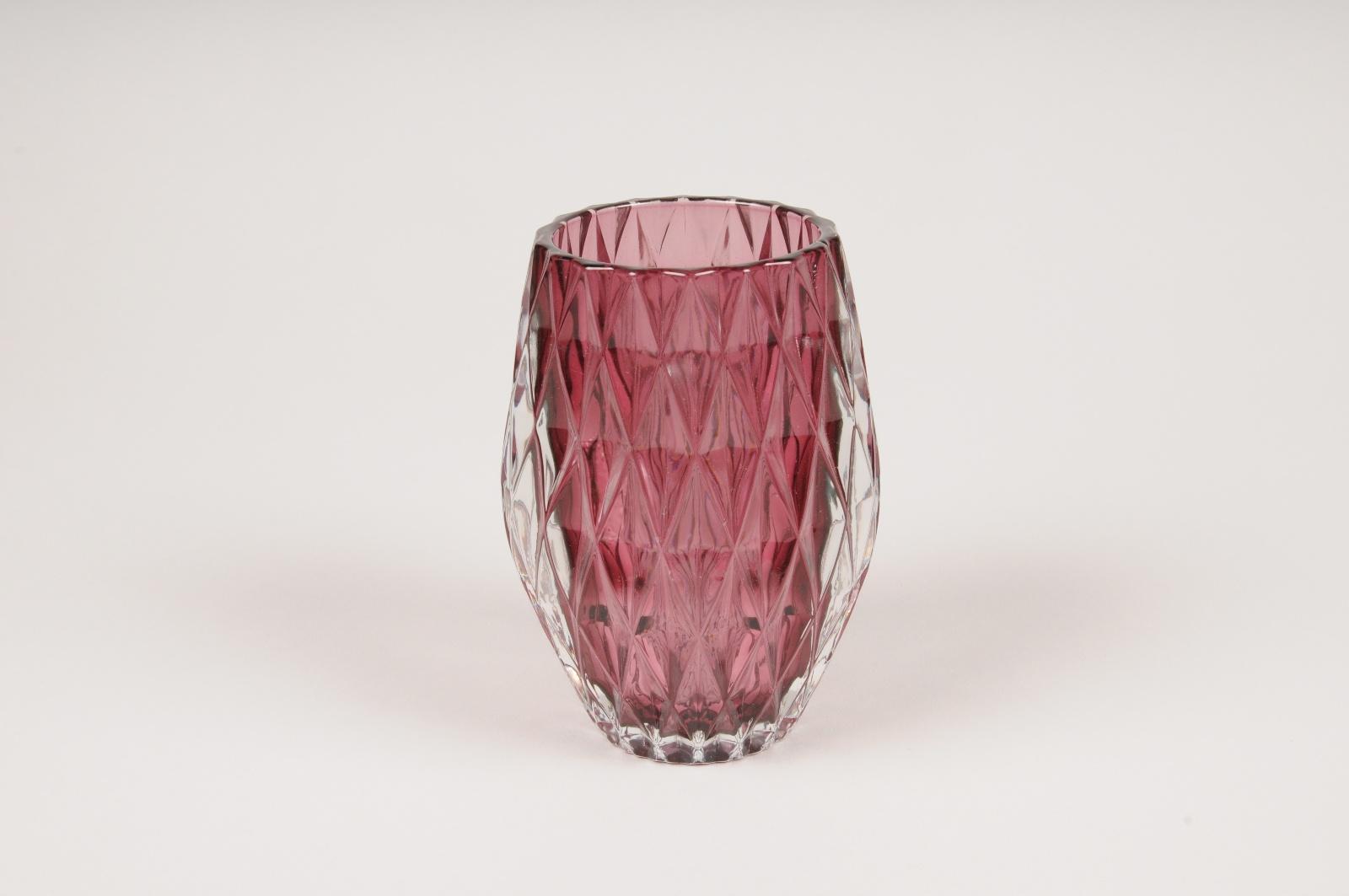 A108R4 Photophore en verre bordeaux D8cm H13cm