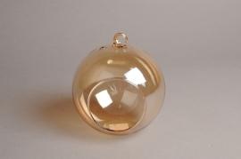 A109PM Box of 4 amber open glass balls D12cm