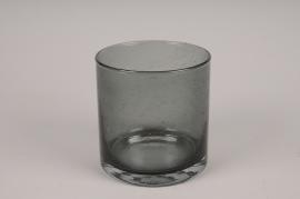 A109W3 Glass grey cylinder vase D12cm H12cm
