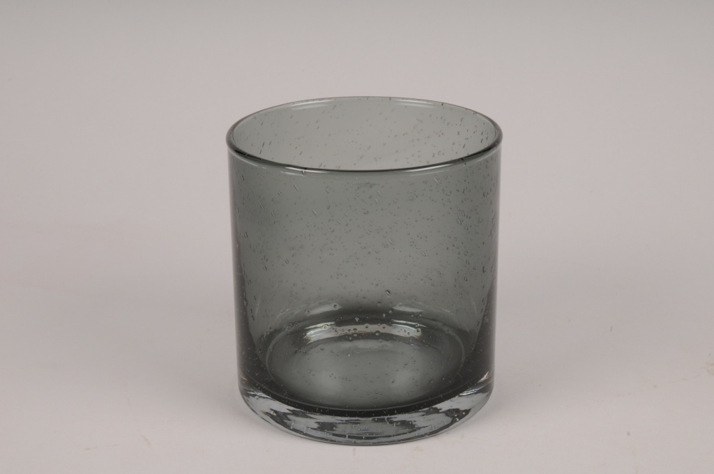 A109W3 Vase verre cylindre gris D12cm H12cm