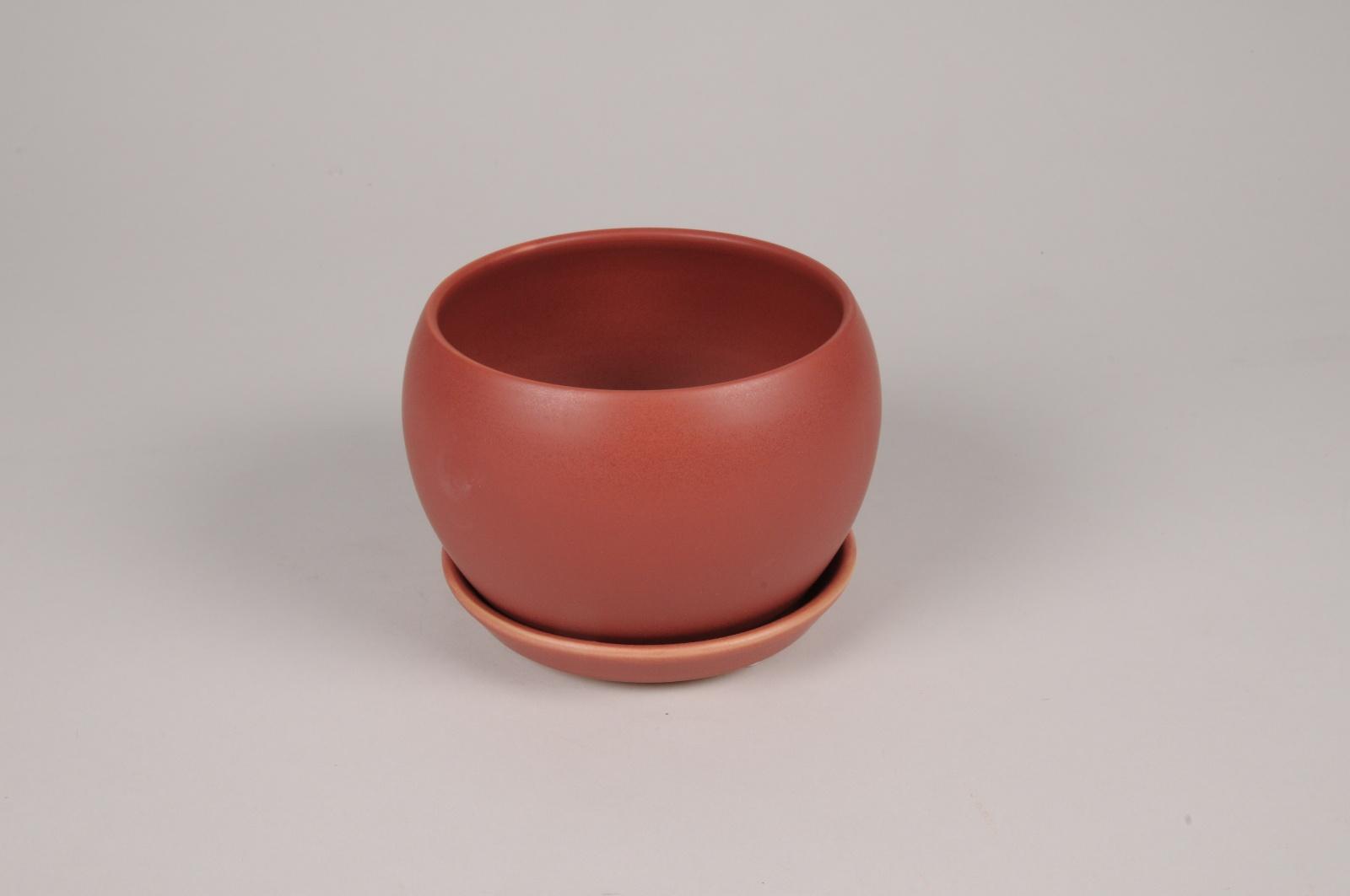 A110HX Cache-pot en céramique rouge brique D15cm H11cm