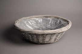 A110MZ Grey wicker ball with rim D35 H12cm