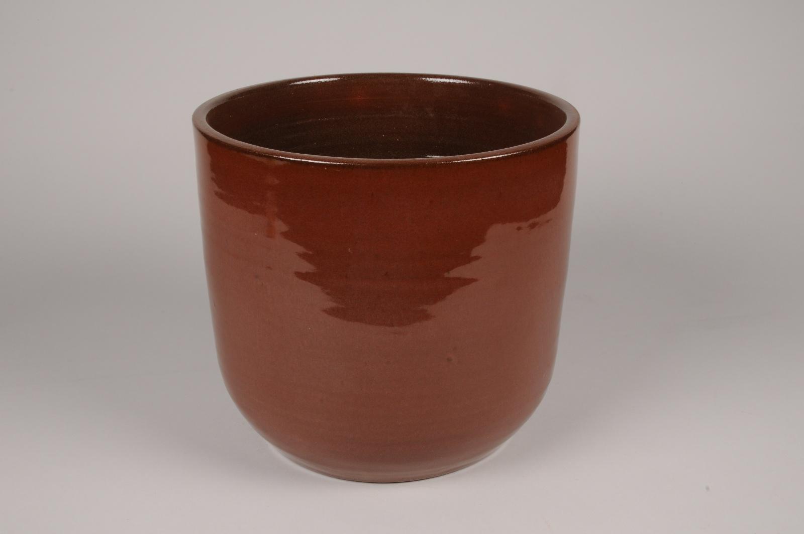 A110T3 Cache-pot en céramique brun rouge D27cm H25cm