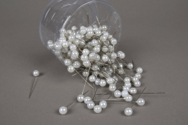 A111MG Box of 250 white beads on pin 10x60mm