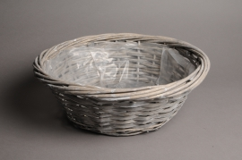 A111MZ Grey wicker ball with rim D40 H14cm