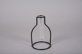 A111PM Glass single flower vase with metal stand H17cm