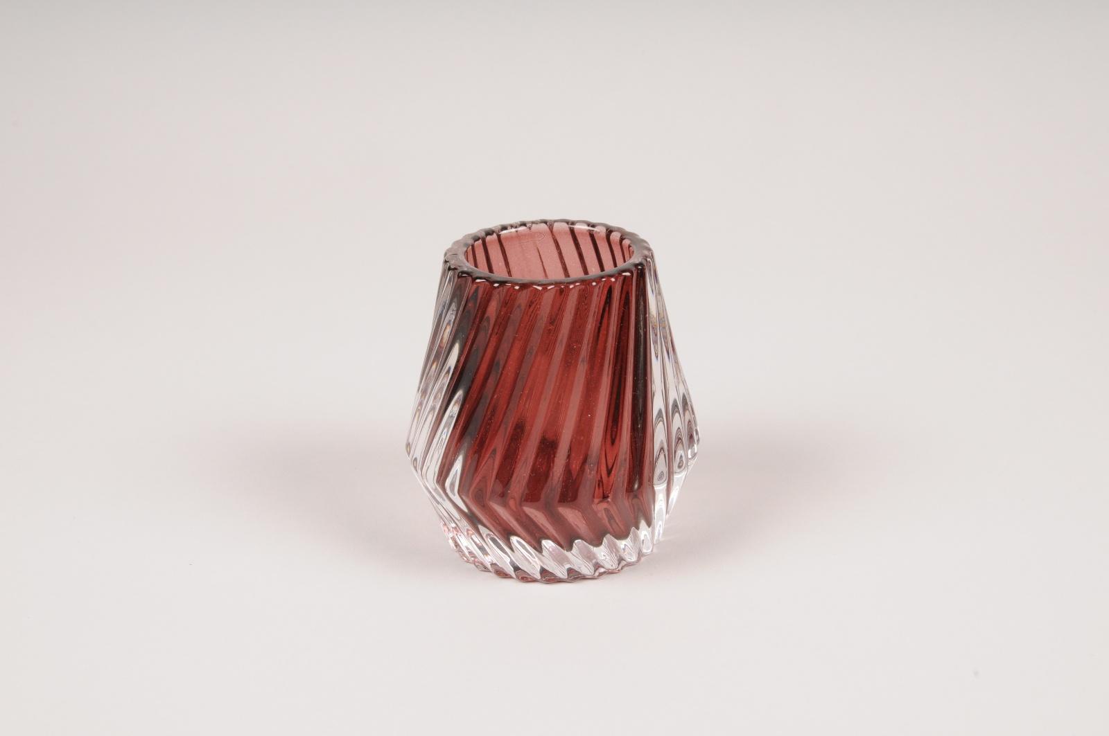 A111R4 Photophore en verre bordeaux D8cm H8.5cm