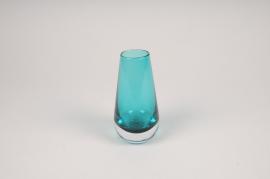 A111W3 Blue glass vase D7cm H14cm