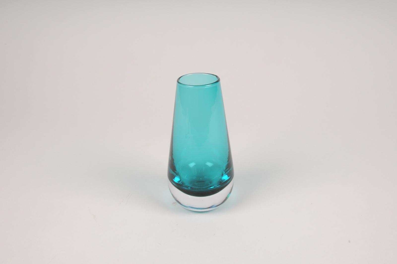 A111W3 Vase en verre obus bleu D7cm H14cm
