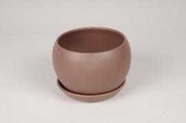 A112HX Cache-Pot en céramique brun D15cm H11cm