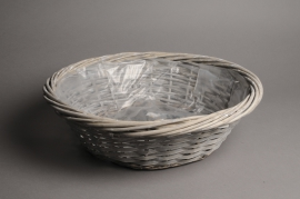 A112MZ Grey wicker ball with rim D45 H14cm