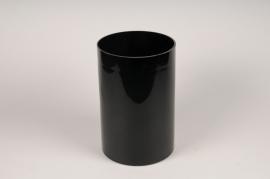 A112PS Vase en verre cylindre noir D20cm H30cm