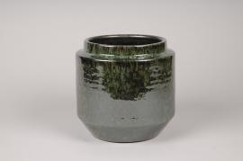 A112T3 Green ceramic planter D20cm H20cm