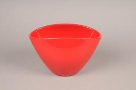 A113I0 Red ceramic planter H17cm