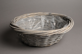 A113MZ Grey wicker ball with rim D50 H15cm