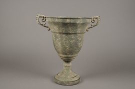 A113NM Antique patina green metal Medici vase D24cm H35cm