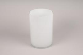 A113PS Vase en verre cylindre blanc D20cm H30cm